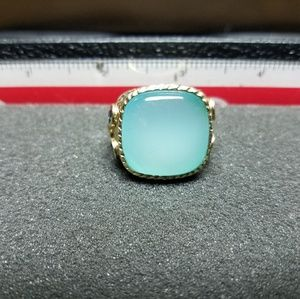 Men's Hammered Silver Chalcedony Topaz Ring Sz 9